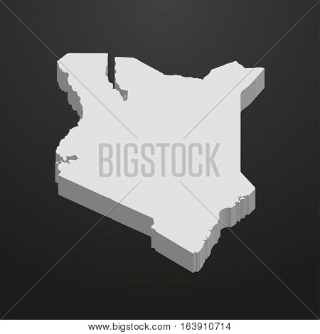 Kenya map in gray on a black background 3d
