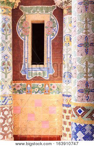 Window with columns on balcony of Palau de la Musica Barcelona Spain poster