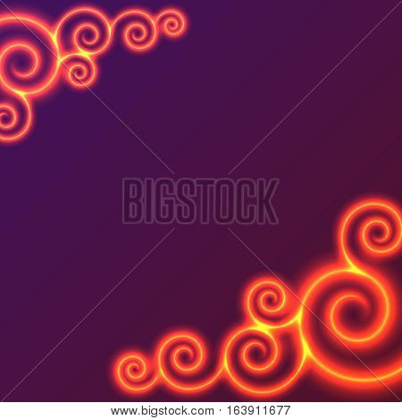 Yellow and red swirls of flame. background, bright design element with space for text