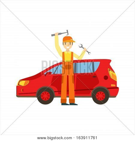 Smiling Mechanic With Wrench And Hammer In The Garage, Car Repair Workshop Service Illustration. Cartoon Male Character In Dungarees Working In Auto Repair Shop.