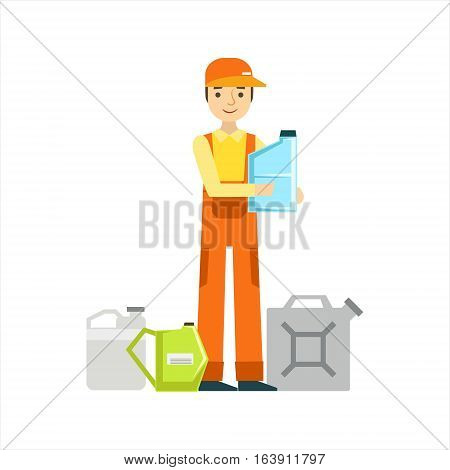 Smiling Mechanic With Oils Assortment In The Garage, Car Repair Workshop Service Illustration. Cartoon Male Character In Dungarees Working In Auto Repair Shop.