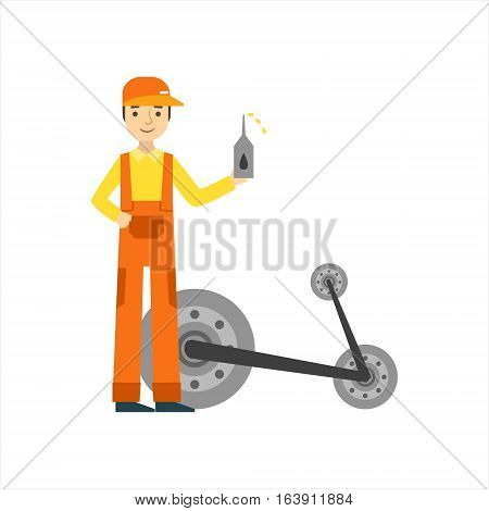 Smiling Mechanic Changing Oil In The Garage, Car Repair Workshop Service Illustration. Cartoon Male Character In Dungarees Working In Auto Repair Shop.