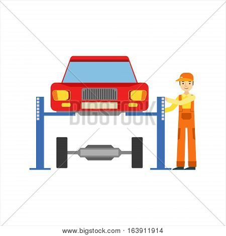 Smiling Mechanic Repairing The Suspension In The Garage, Car Repair Workshop Service Illustration. Cartoon Male Character In Dungarees Working In Auto Repair Shop.