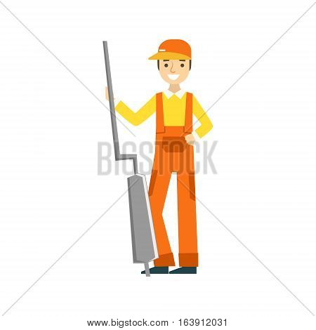 Smiling Mechanic Holding The Muffler In The Garage, Car Repair Workshop Service Illustration. Cartoon Male Character In Dungarees Working In Auto Repair Shop.