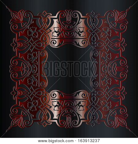 Damask pattern in baroque style. Wallpaper with antique floral medieval baroque abstract flowers and ornaments. Baroque damask vintage red