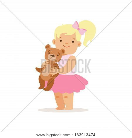 Blon Girl Standing WIth Teddy Bear, Adorable Smiling Baby Cartoon Character Every Day Situation. Part Of Cute Infants And Toddlers Vector Illustration Series