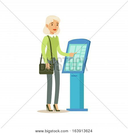 Woman Taking Electronic Queue Ticket, Bank Service, Account Management And Financial Affairs Themed Vector Illustration. Smiling Cartoon Characters In Bank Office Interior Vector Illustration.