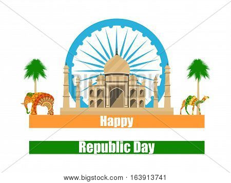 Happy Republic Day Of India. Taj Mahal And The Symbols Of India. Vector Illustration.