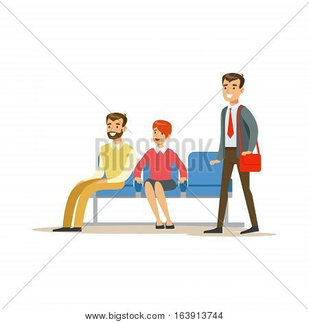Three Person Waiting In Queue. Bank Service, Account Management And Financial Affairs Themed Vector Illustration. Smiling Cartoon Characters In Bank Office Interior Vector Illustration.