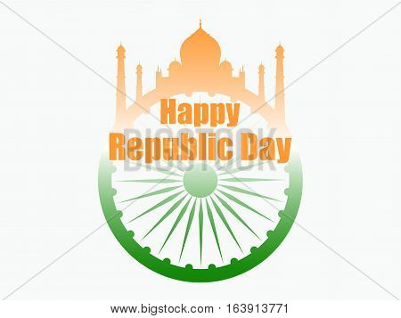 Happy Republic Day Of India. Vector Illustration In The Colors Of The Indian Flag