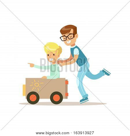 Boy And His Dad Playing Toy Car, Traditional Male Kid Role Expected Classic Behavior Illustration. Part Of Series With Smiling Teenage Boys And Their Interests Vector Characters.