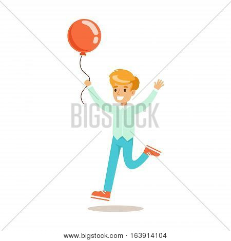 Boy Running With Balloon, Traditional Male Kid Role Expected Classic Behavior Illustration. Part Of Series With Smiling Teenage Boys And Their Interests Vector Characters.