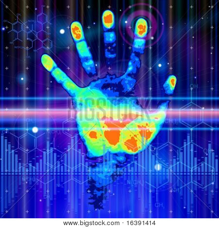 ID concept: color handprint, blue technology background, lights, chemical formulas & digital wave