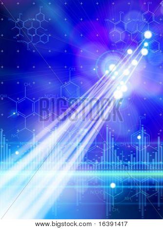 Chemical formulas, digital wave & fiber optics color lights - technology blue background