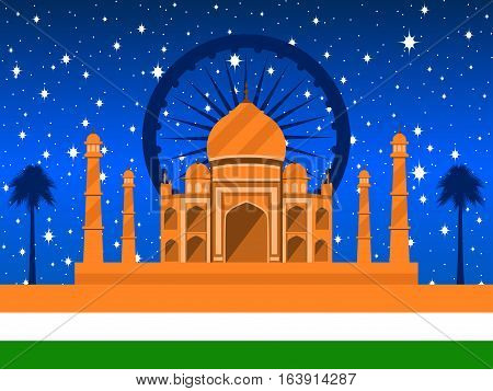Republic Day Of India. Taj Mahal With Flag And Palms On The Background Of A Starry Sky. Vector Illus