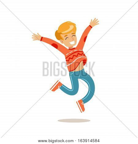 Boy Jumping, Traditional Male Kid Role Expected Classic Behavior Illustration. Part Of Series With Smiling Teenage Boys And Their Interests Vector Characters.