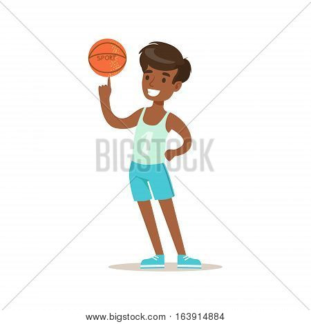Boy Wisth Basketball Ball, Traditional Male Kid Role Expected Classic Behavior Illustration. Part Of Series With Smiling Teenage Boys And Their Interests Vector Characters.