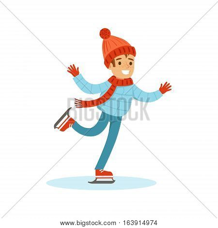Boy Ice Skating, Traditional Male Kid Role Expected Classic Behavior Illustration. Part Of Series With Smiling Teenage Boys And Their Interests Vector Characters.