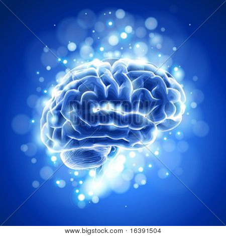 brain & blue bokeh abstract light background. Vector illustration / eps10