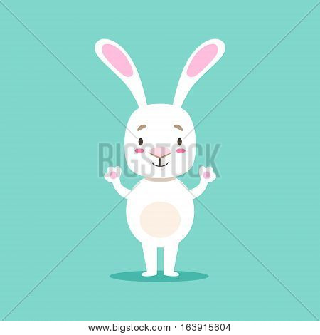 Little Girly Cute White Pet Bunny Cartoon Character Life Situation Illustration. Humanized Rabbit Baby Animal And Its Activity Emoji Flat Vector Drawing
