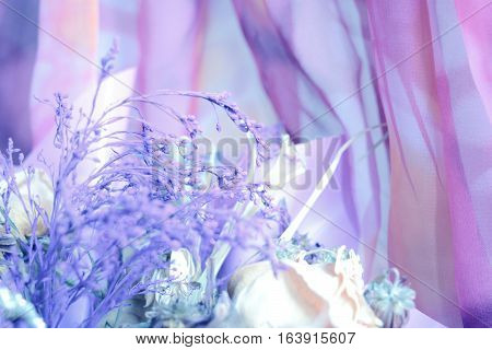 Desiccated Bouquet With Lilac Small Flowers.