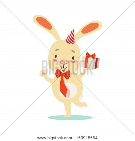Little Girly Cute White Pet Bunny With Birthday Present Wearing Party Hat, Cartoon Character Life Situation Illustration. Humanized Rabbit Baby Animal And Its Activity Emoji Flat Vector Drawing