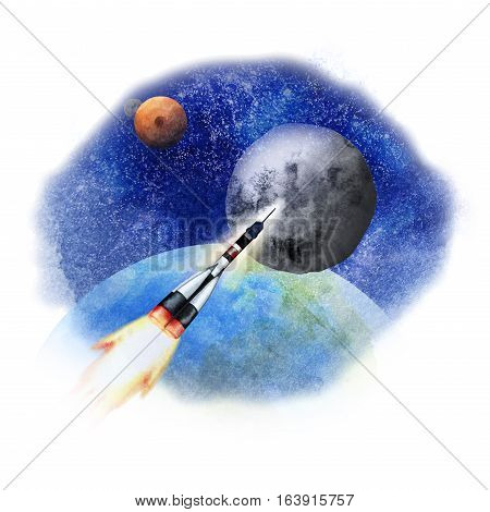 Rocket flying in open space from the Earth to the Moon. Watercolor illustration isolated on white background