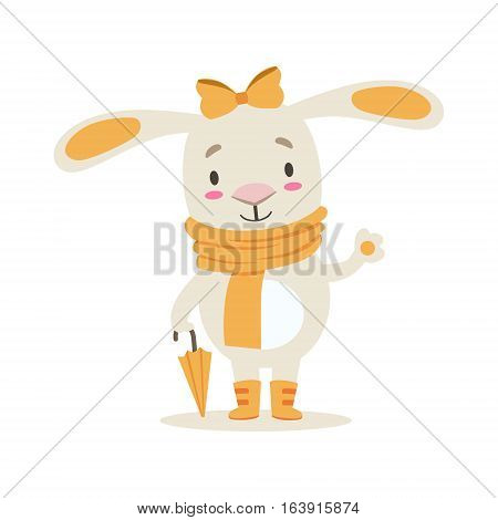 Little Girly Cute White Pet Bunny In Orange Autumn Clothes With Umbrella, Cartoon Character Life Situation Illustration. Humanized Rabbit Baby Animal And Its Activity Emoji Flat Vector Drawing