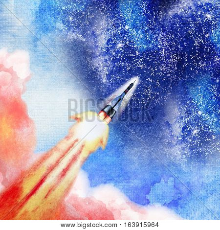Rocket launch into the open space. Watercolor art