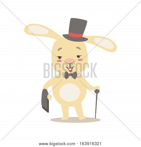 Little Girly Cute White Pet Bunny In Gentleman Costume With Top Hat, Cartoon Character Life Situation Illustration. Humanized Rabbit Baby Animal And Its Activity Emoji Flat Vector Drawing