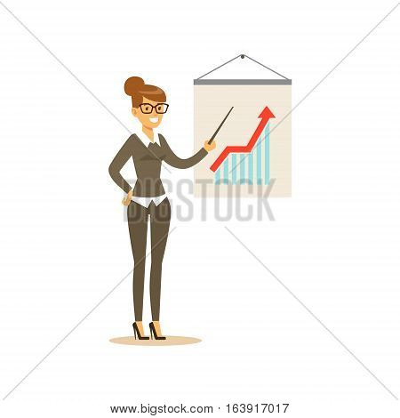 Marketing Specialist Doing Presentation, Business Office Employee In Official Dress Code Clothing Busy At Work Smiling Cartoon Characters. Part Of Marketing And Management Series Of Vector Illustrations.