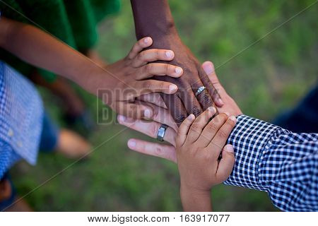 beautiful image of hands of people. union life. beauty. purity