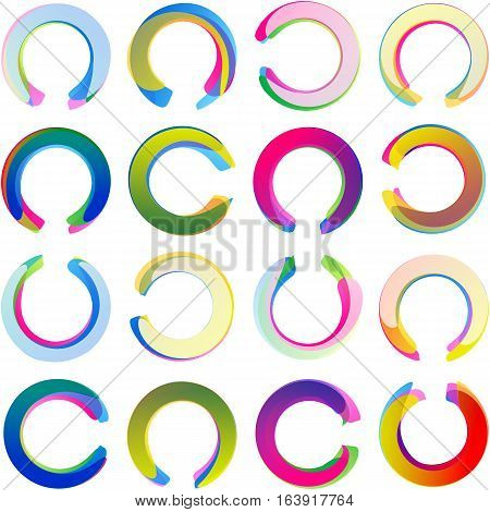 Colored overlapping circles; Arcs rounded multicolored banners circular medals and half rings labels swirled in the c-horseshoe form; Vector icons set Eps10