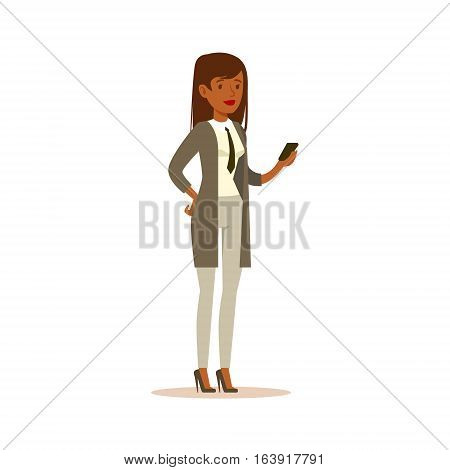 Businesswoman Checking The Phone, Business Office Employee In Official Dress Code Clothing Busy At Work Smiling Cartoon Characters. Part Of Marketing And Management Series Of Vector Illustrations.