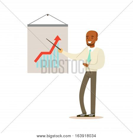 Sales Specialist Business Office Employee In Official Dress Code Clothing Busy At Work Smiling Cartoon Characters. Part Of Marketing And Management Series Of Vector Illustrations.