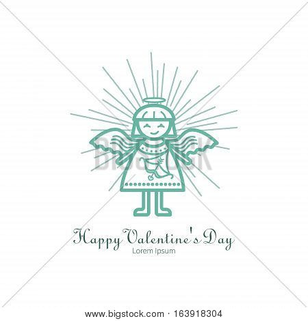 The symbol of the holiday Valentine s Day. Linear icon on isolated background. Suitable for a simple card or invitation design.