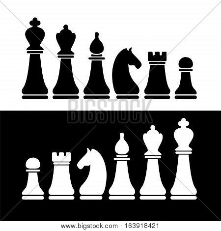 Chess Flat Figures Vector Set.