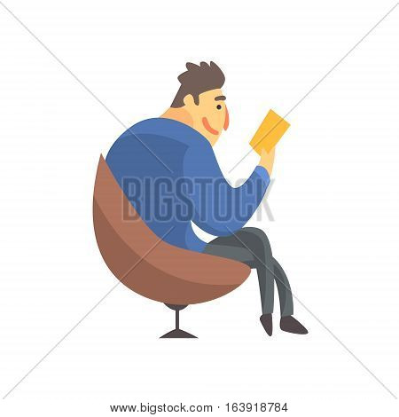 Businessman Top Manager In A Suit Reading In Armchair, Office Job Situation Illustration. Funny Male Character Working In Business Financial Sphere Flat Cartoon Character.