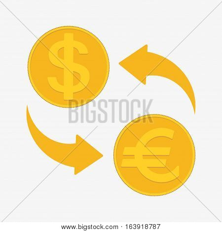 Currency Exchange. Euro And Dollar. Vector Illustration