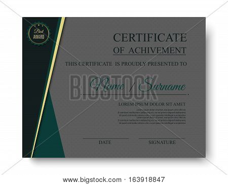 Luxury certificate of achivement with award badge. Vector template eps10