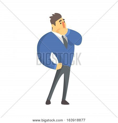 Doubtful Businessman Top Manager In A Suit, Office Job Situation Illustration. Funny Male Character Working In Business Financial Sphere Flat Cartoon Character.