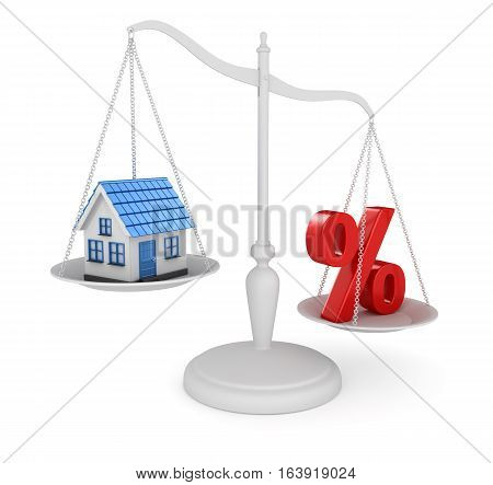 House and percentage symbol balancing This is a 3d rendered computer generated image. Isolated on white.