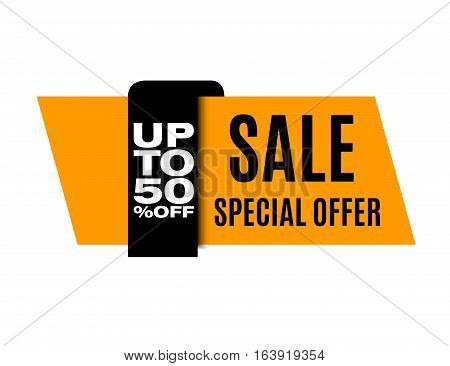 Sale banner. Yellow discount image. This weekend only. Vector eps10