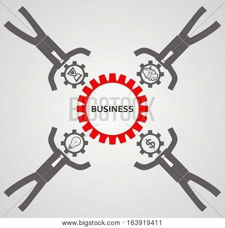 teambuilding concept. Idea. Gears, businessman. vector illustration