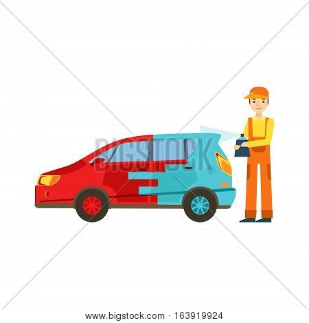 Smiling Mechanic Painting The Car In The Garage, Car Repair Workshop Service Illustration. Cartoon Male Character In Dungarees Working In Auto Repair Shop.