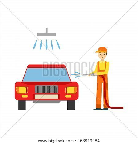 Smiling Mechanic Washing The Car In The Garage, Car Repair Workshop Service Illustration. Cartoon Male Character In Dungarees Working In Auto Repair Shop.