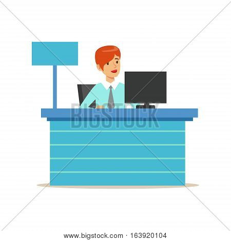 Office Bank Employee At Her Desk. Bank Service, Account Management And Financial Affairs Themed Vector Illustration. Smiling Cartoon Characters In Bank Office Interior Vector Illustration.