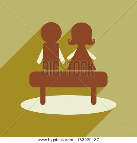 Flat web icon with long shadow man woman bench