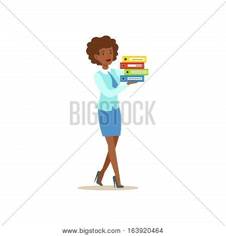 Bank Secretary Waking Holding Pile Of Folders. Bank Service, Account Management And Financial Affairs Themed Vector Illustration. Smiling Cartoon Characters In Bank Office Interior Vector Illustration.