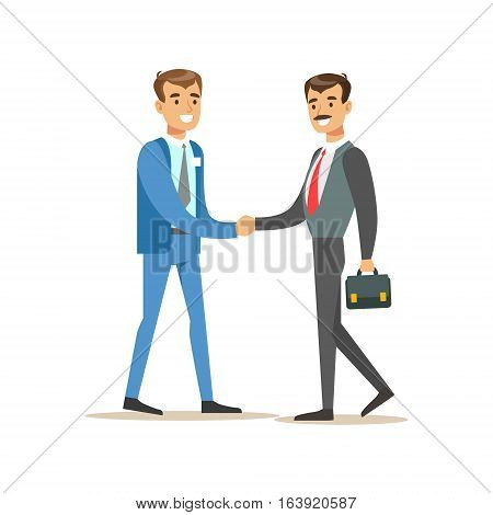 Bank Manager Meeting Handshaking With Important Client. Bank Service, Account Management And Financial Affairs Themed Vector Illustration. Smiling Cartoon Characters In Bank Office Interior Vector Illustration.